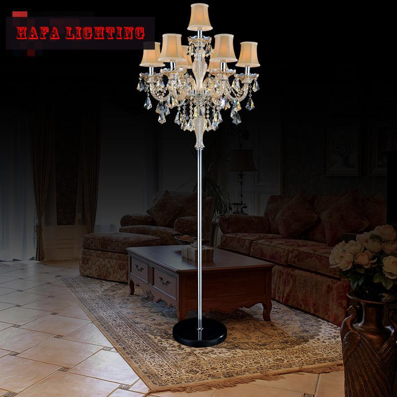 Buy 7 lamp european luxury crystal floor for Living lighting floor lamps