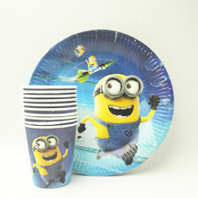 20pcs/set Minions Paper Plate&Cup Kids Birthday Decoration Festival Party Supplies Boys Or Girls Cartoon Theme