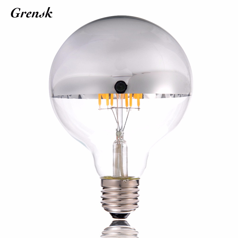 Sliver Bowl,G125 Globe Lamp,10W 16LED,Vintage LED Filament Bulb,Warm White,E26 E27 Base,Decorative Lighting,Dimmable 5pcs e27 led bulb 2w 4w 6w vintage cold white warm white edison lamp g45 led filament decorative bulb ac 220v 240v