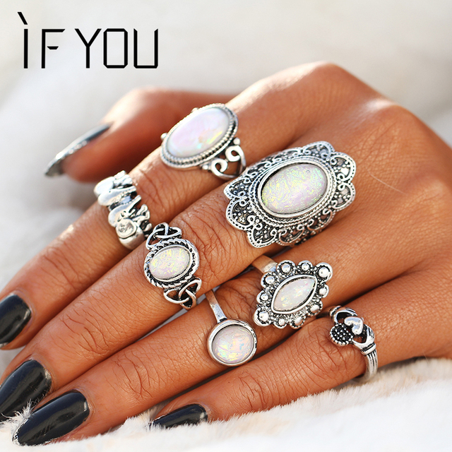 IF YOU 7Pcs/Set Antique Vintage Silver Artificial Stone Ring Sets Fashion Zinc A