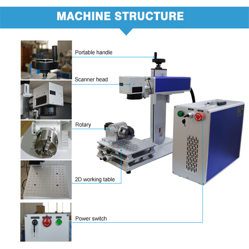 Portable 20W/30W/50W Fiber Laser Marking Machine For Jewelry Rings Silver Metal Cheap
