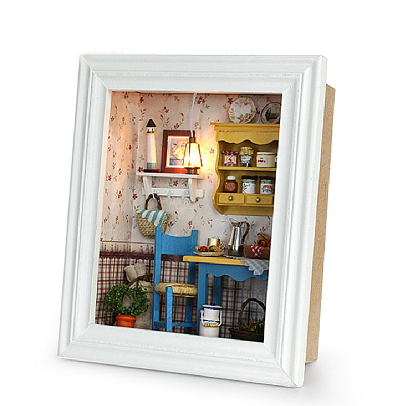 DIY Wooden Dollhouse Assemble Kits Miniature Doll House With Furniture Photo Frame Design Decoration Toys For Kids Birthday Gift