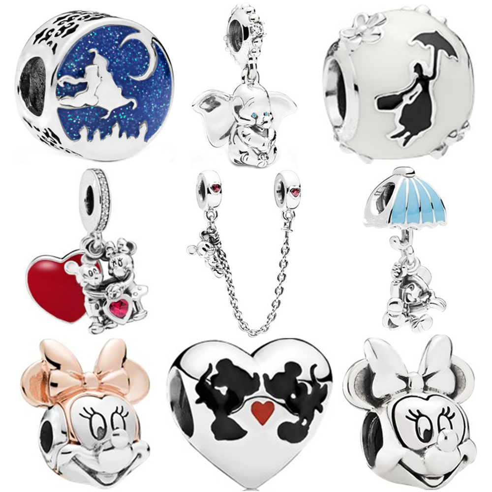 New Original Free Shipping Silver Color Bead Mickey Fairytale Dumbo Love Charm Fit Pandora Bracelet Necklace DIY Women Jewelry(China)