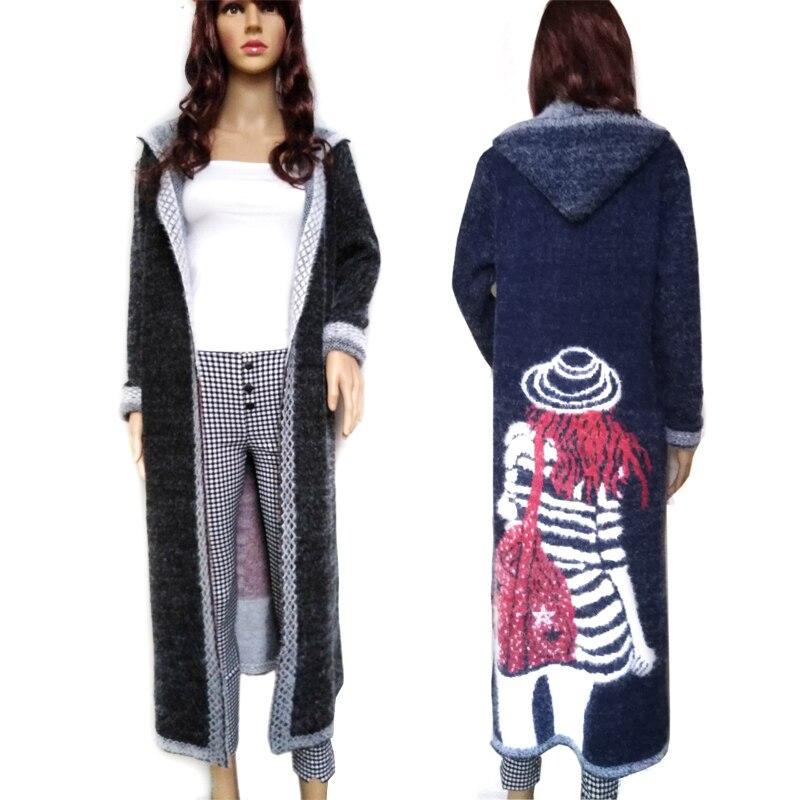 Женское осеннее длинное пальто норковый кашемировый свитер длинный женский кардиган мохер вязаное пальто высокого качества