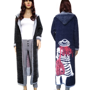 Image 1 - נשים סתיו ארוך מינק קשמיר סוודר קרדיגן נקבה אנגורה סריגה מעיל באיכות גבוהה