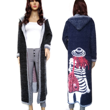 Women Autumn Long Mink Cashmere Sweater Cardigan Female Mohair Knitting Coat   High Quality