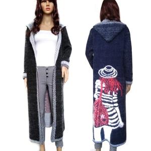 Image 1 - Women Autumn Long Mink Cashmere Sweater Cardigan Female Mohair Knitting Coat   High Quality