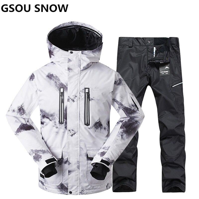 Gsou Snow combinaison de ski d'hiver de haute qualité pour hommes veste de ski pantalon imperméable snowboard ensembles Ski de plein air sport snowboard costume