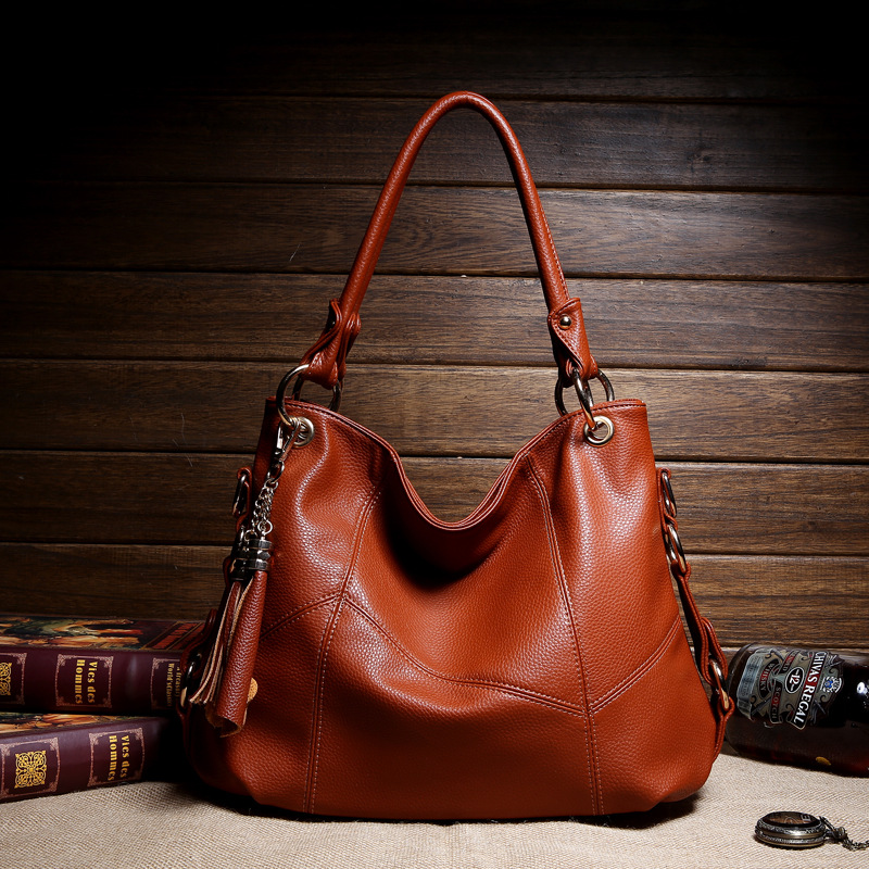 New Korean fashion handbags tassel shoulder hand bag lady cross leather stitching 2018 new korean version of the shoulder diagonal bag lady fashion women s bow hand packet