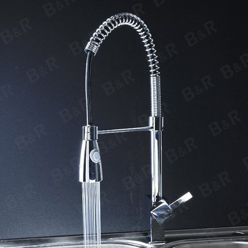 Pull out Kitchen Faucet Basin Sink Bathroom Single Hole Mixer Tap Chrome Brass Spring Deck Mounted
