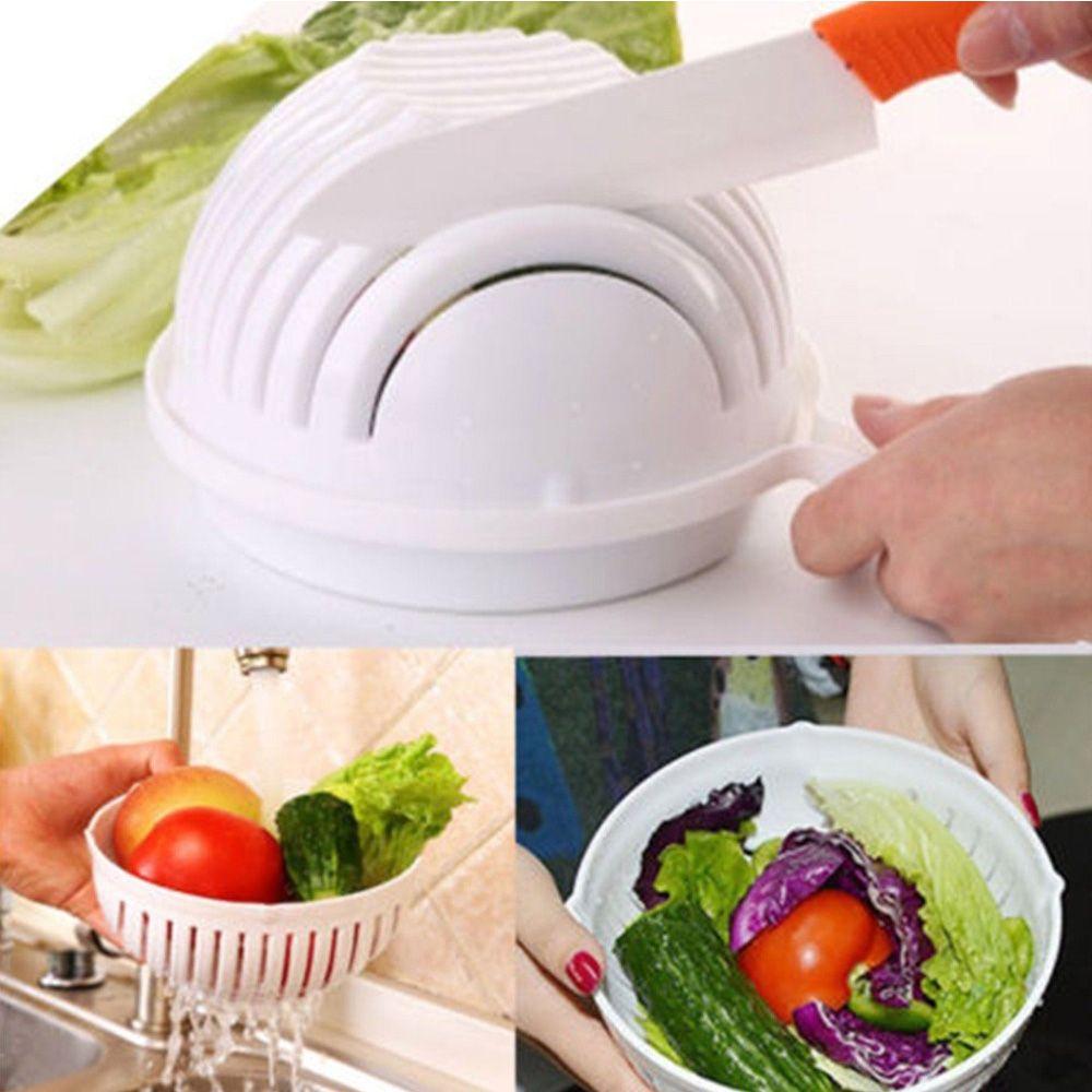 2017 New Salad Cutting Maker Drain Basket Vegetable Cutter Bowl ...