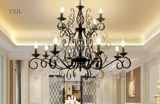 Chandelier lighting American retro living room lighting chandelier creative European bedroom chandelier lighting crystal 2017 luminaria american retro crystal iron chandelier living room bedroom restaurant golden vintage art lighting free shipping