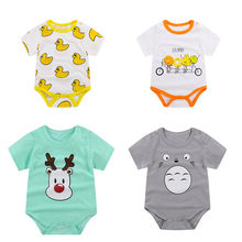 100% Cotton Summer Baby Clothes Cartoon Newborn Boys Girls Rompers Jumpsuits Short Sleeve Infant Toddler Outfits Roupas de bebe(China)