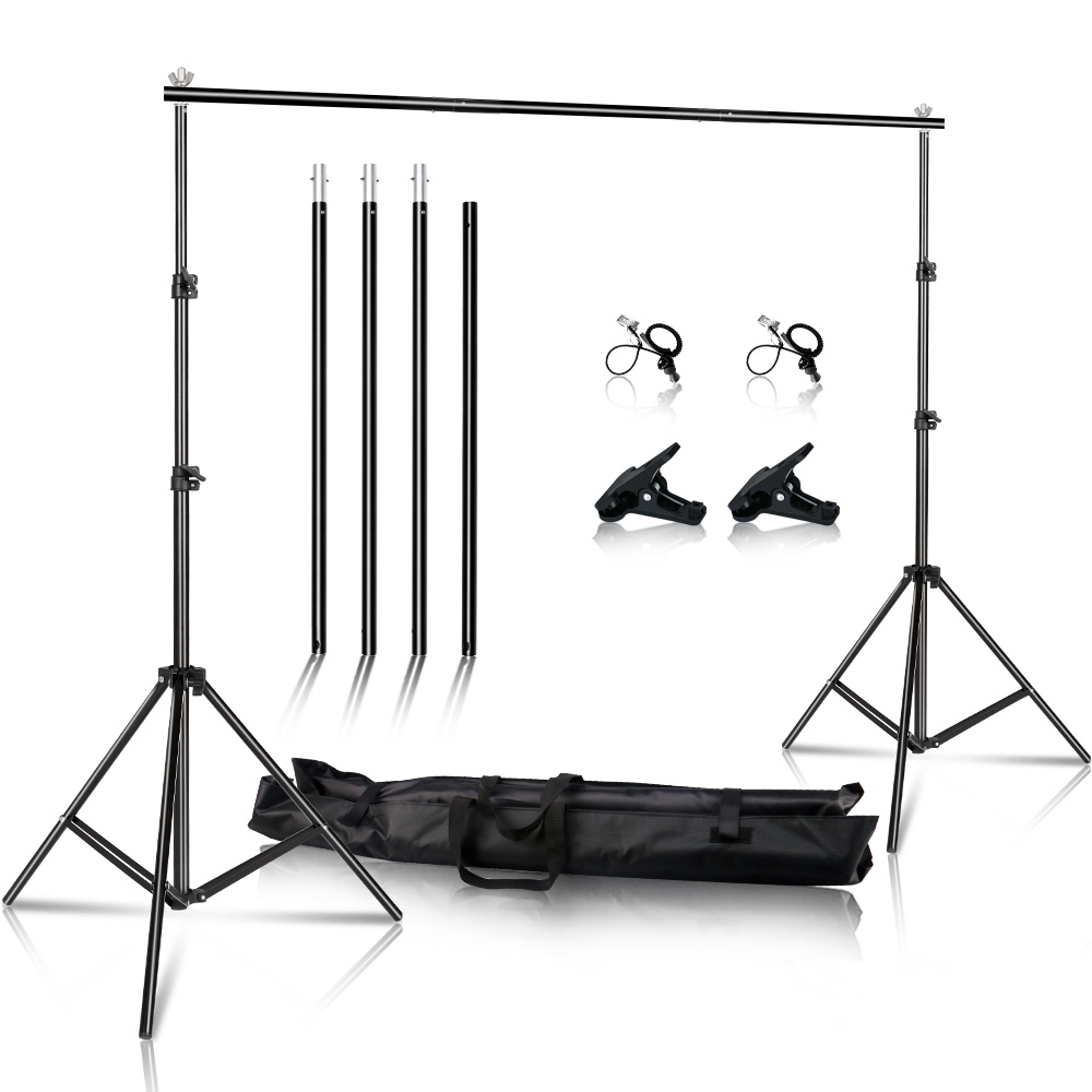 2x3M/6.5x10ft Photography Video Studio Backdrop Background Stand, Adjustable Background Support System With Carrying Case