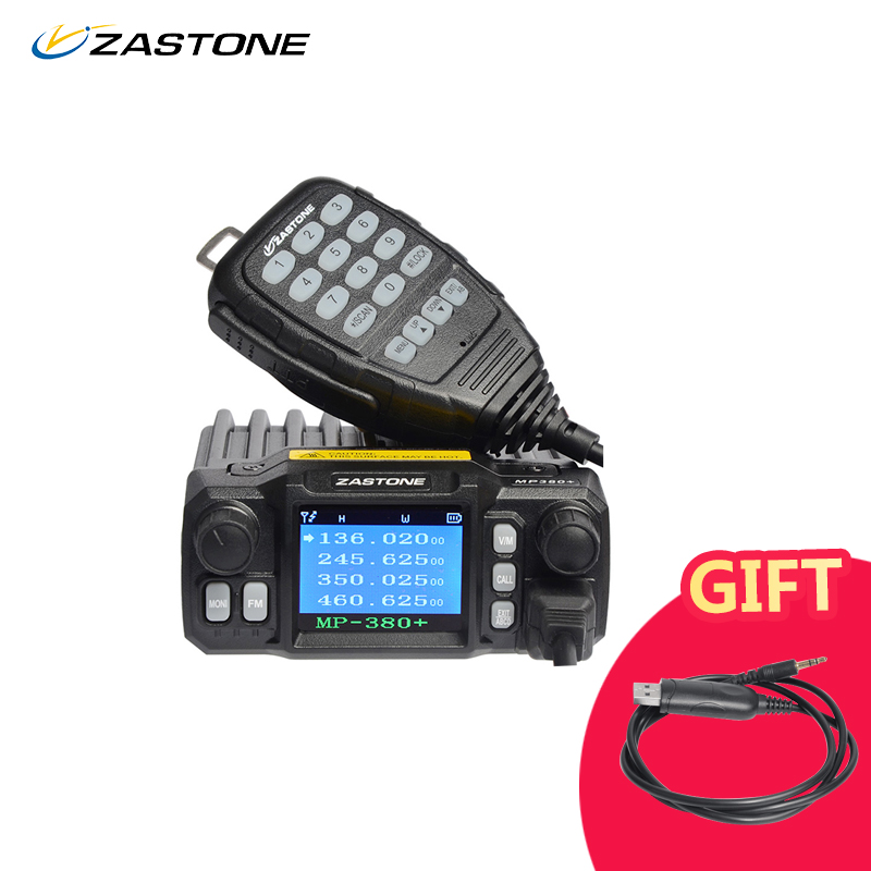 Zastone zt-MP380 + Mini Mobile Radio Auto Ricetrasmettitore VHF UHF 25 w Dual band Quad-standby 200CH Walkie Talkie stazione Radio auto