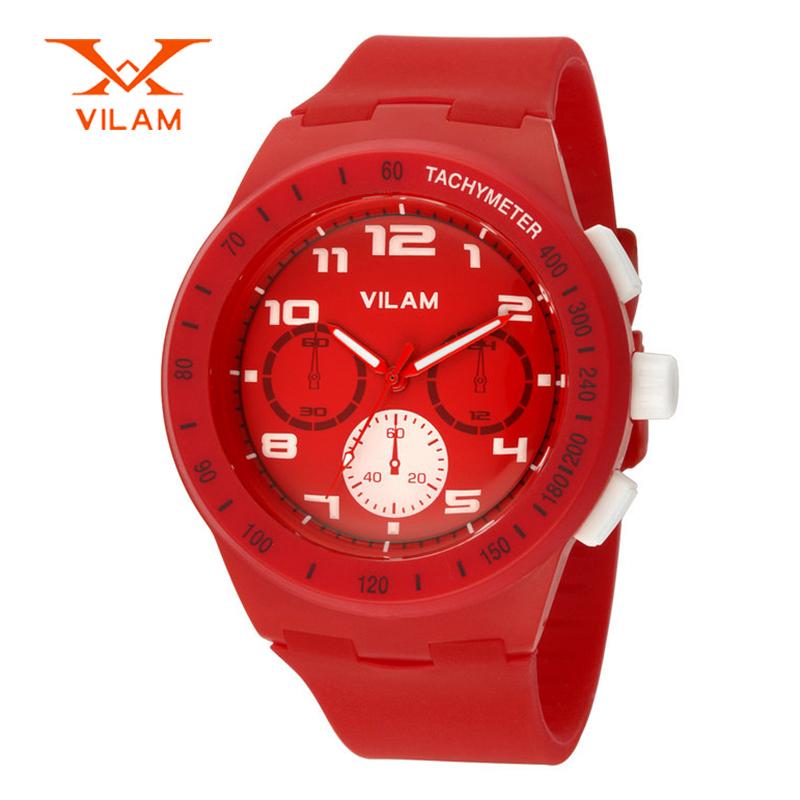 Prix pour Haute qualité marque VILAM mode coloré silicone sport quartz montre femme Japon quartz-montre pour les femmes cadeau 2016 12040