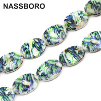 Approx.19pcs 15*20MM Oval Green Printed Pattern Shell Beads Spacer Loose Beads For DIY Jewelry Making Bracelet Necklace