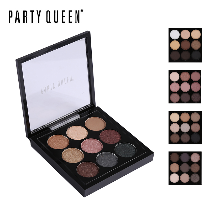 Party Queen Značka 9 Barvy Shimmer Matte Glitter Eyeshadow Palette - Makeup
