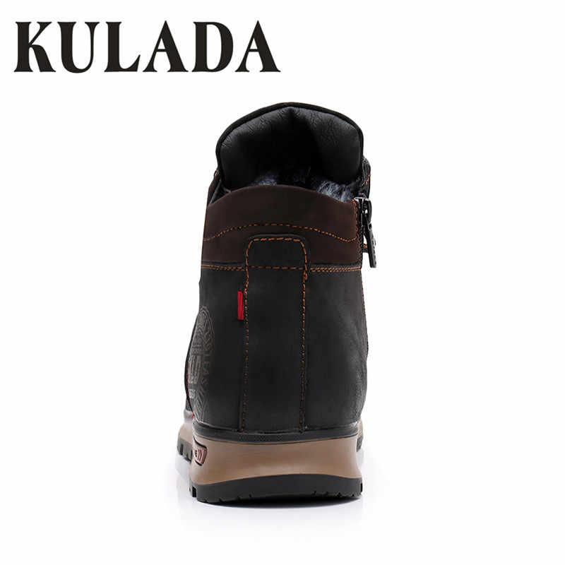 KULADA сапоги Для мужчин кожаные кроссовки модные зимние сапоги теплые зимние сапоги Для мужчин на шнуровке дышащая обувь Для мужчин повседневная обувь