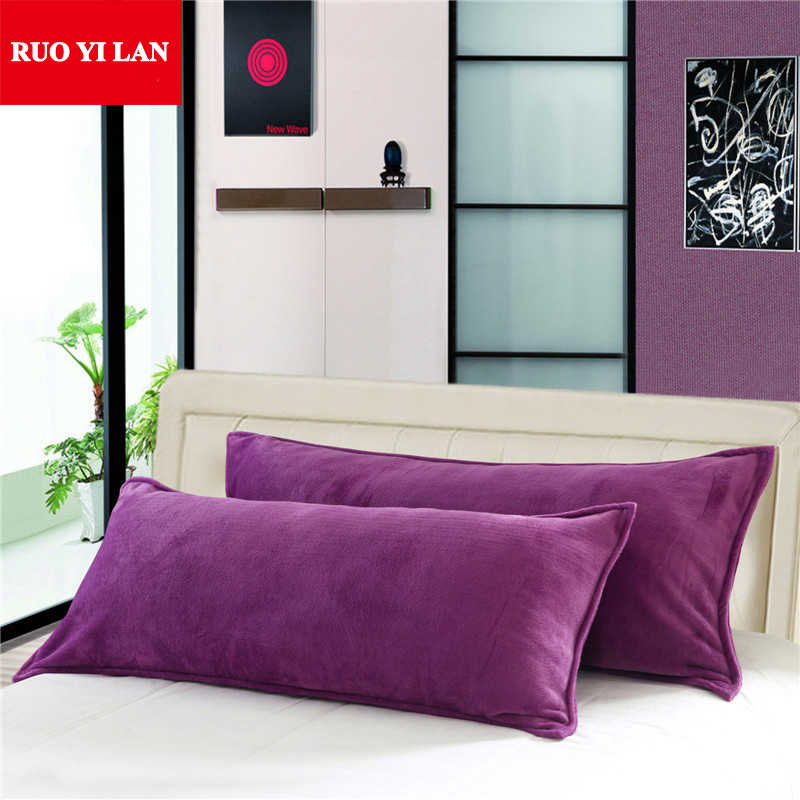 45*120cm 45*150cm Double Flannel Pillowcase for Winter Solid Color Long Pillowslip Home Bedding Pillow Cover One piece/lot