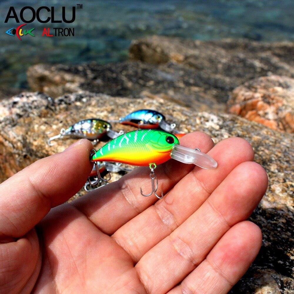 AOCLU wobblers Super Quality 8 Colors 50mm Hard Bait Minnow Crank Popper Stik Fishing lures Bass Fresh Salt water 14 VMC hooks