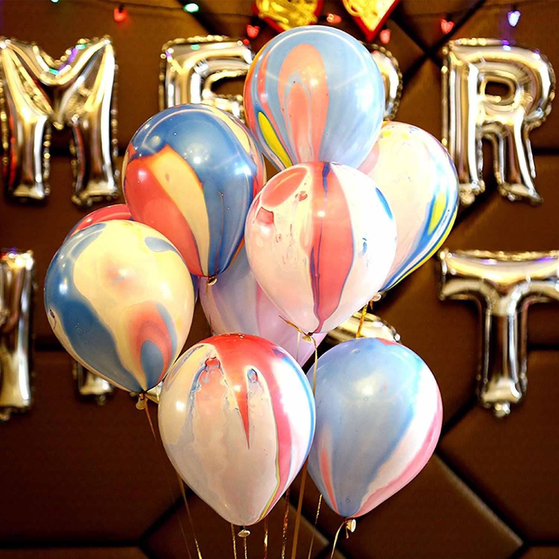 20pcs Marble Balloons Party Latex Swirl Agate Balloons Wedding Birthday Decor