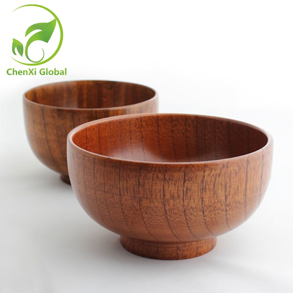 Wooden Dining Bowls ~ Hot sale japanese style natural hand made wooden soup rice