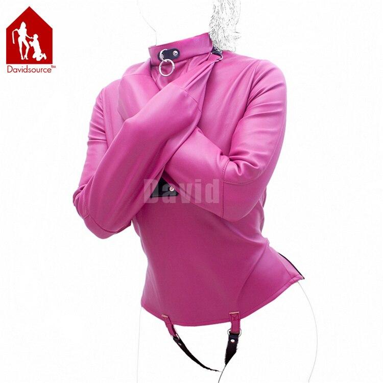 Davidsource Rose Red Leather Body Harness Binding Shirt Zip Lockable Adjustable Belt Slave Bondage Positioning Sex Kit davidsource red