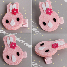 2pcs lot Cute Cartoon Glitter Felt Pink Rabbit Bunny Hairpins Hair Clips for Baby Girls Kids