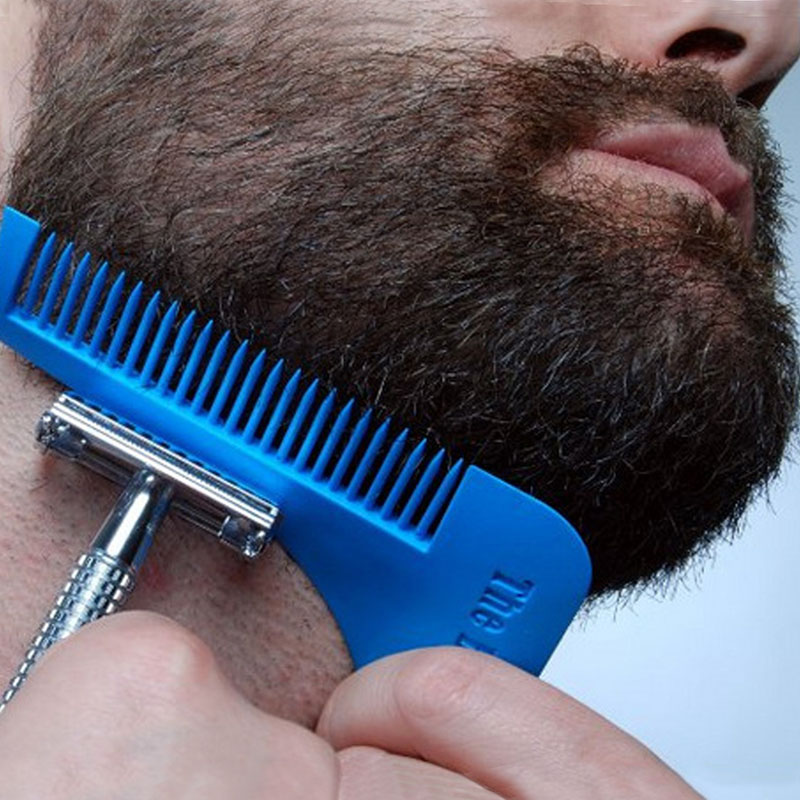 Beard Shaping Tool Man Gentleman Beard Trim Template Hair Cut Blue With Comb