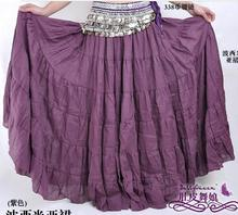 1pcs/lot free shipping Linen Yoga Belly Dance Tiered solid Bohemian Skirt 7 Gypsy Tribal Dancing Show Maxi Dress size