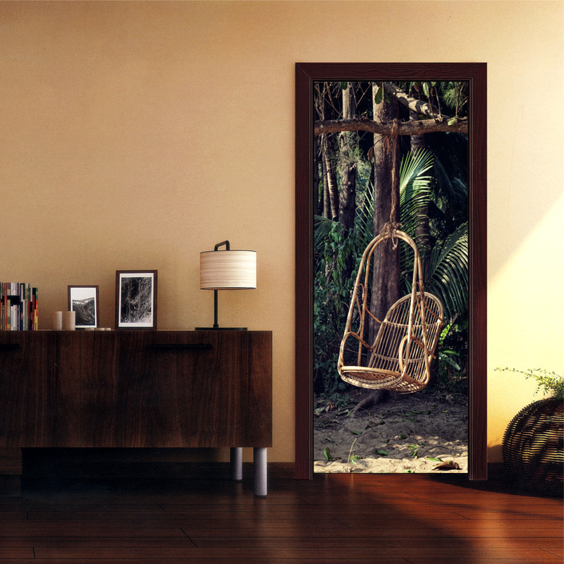 Creative DIY 3D Door Stickers Forest Wicker Chair Pattern for Room Wall Decoration Home  ...