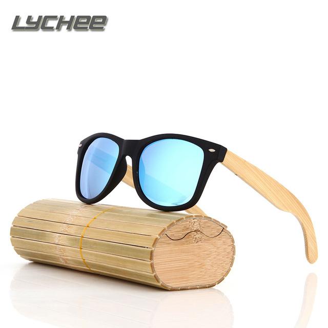 Lychee2017 new de los hombres/de las mujeres hechas a mano de bambú gafas de sol anteojos de madera gafas de sol polarizadas lente, paño limpio y fib