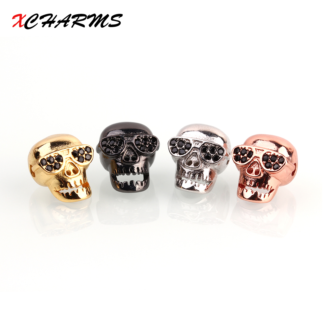 Xcharms 13*10 мм черный CZ череп головы Spacer Бусины DIY Медь Бусины для Браслеты Jewlery материалы для пошива изделий оптовая продажа