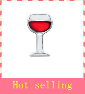 Hot selling 20pcs/lot Silver wine glass floating charms living glass memory floating lockets for diy jewelry