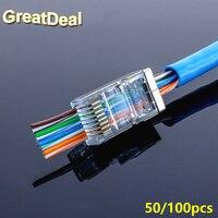 50/100 pz EZ connettore RJ45 cat5e Cat6 rete connettore terminali Pin plug rj45 utp schermato modular hanno foro HY1549