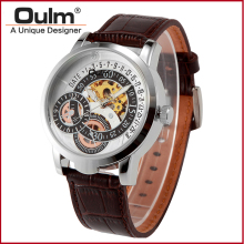 Oulm brand hotsale wholesale genuine leather wrist watch Chinese mechanical hand wind watch