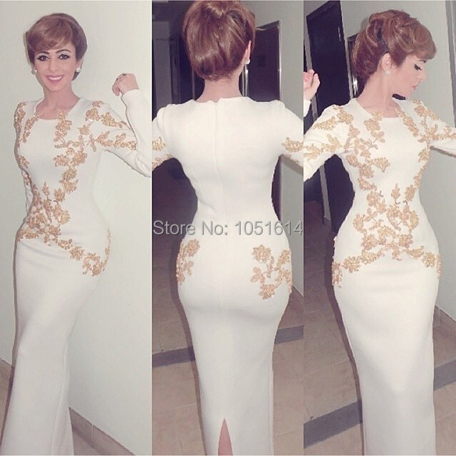 Meramid Long Sleeves Gold Beaded Appliques O Neck Lebanon Singer