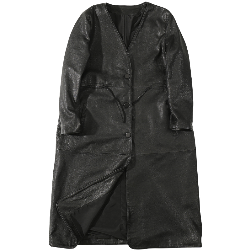 2020 Autumn  Long Section Leather Version of The Coat Loose Sheepskin New Windbreaker Thin Leather Jacket Sheepskin Coat