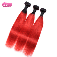 BY Brazilian Pre Colored Raw Straight Hair 1B RED Color One Piece Remy Human Hair Bundle