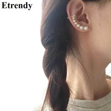 Womens Fashion Earrings Simple Trendy Jewelry Wholesale Ear Cuffs Delicate Simulated Pearl Pendientes Party Bijoux Elegant Gift