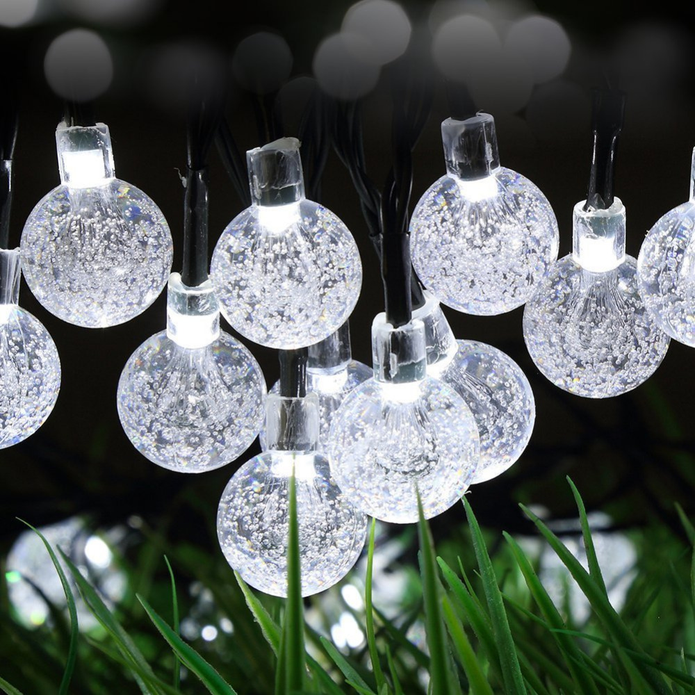 50led string lights fairy lights crystal ball solar powered outdoor lighting lamp decoration for garden fence path christmasin lighting strings from