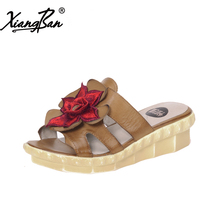 Xiangban comfortable women sandals slippers Muffin bottom leather beach slippers women summer slippers outside