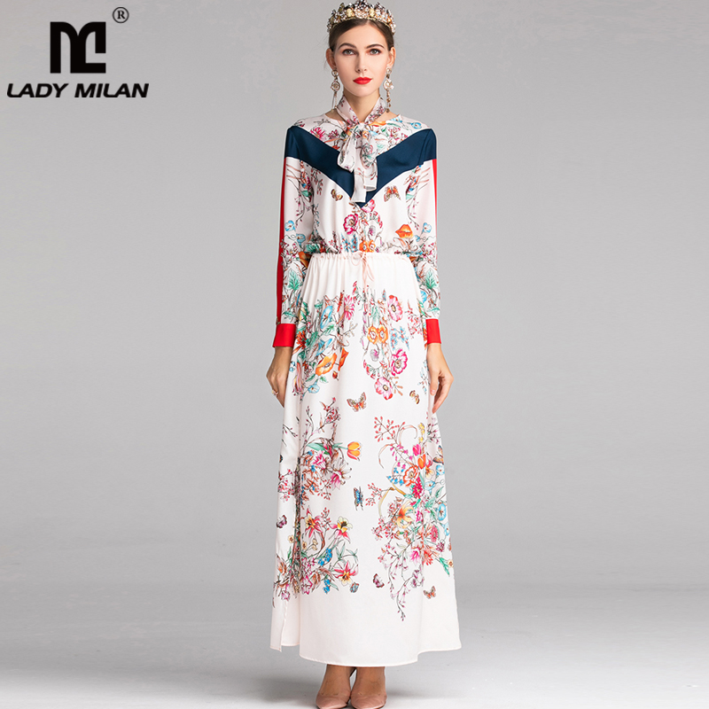2019 Women s O Neck Long Sleeves Floral Printed Elegant Party Wear Sexy Split Maxi Floor