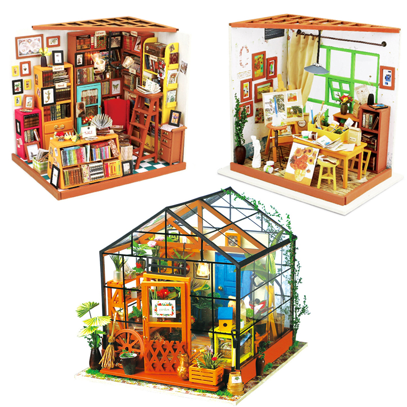 Robotime Doll House With Furnitures Miniature DIY Dollhouse 3D Wooden Handmade House Toys Gift For Ada's Studio Drawing DG103 #E