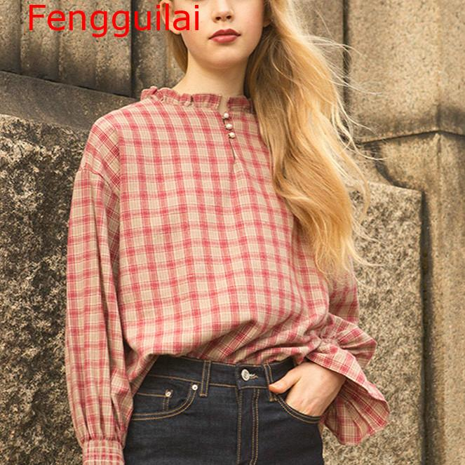 Fengguilai 2019 Cotton Plaid Shirt Women Flare Sleeve Blouse British Style Ruffled Neck Casual European Top And Blouses