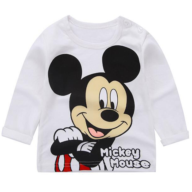 New baby kid clothing Boys girls long-sleeved cotton T-shirt cartoon pattern Mickey 1-5T children print loose casual top Tees red stripe pattern loose fit t shirt page 5