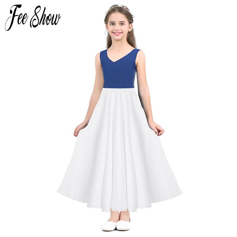 FEESHOW Summer Teenager Girls High Waist Long Maxi Full Circle Skirt for Performance Celebration of Spirit Praise Dance Wear