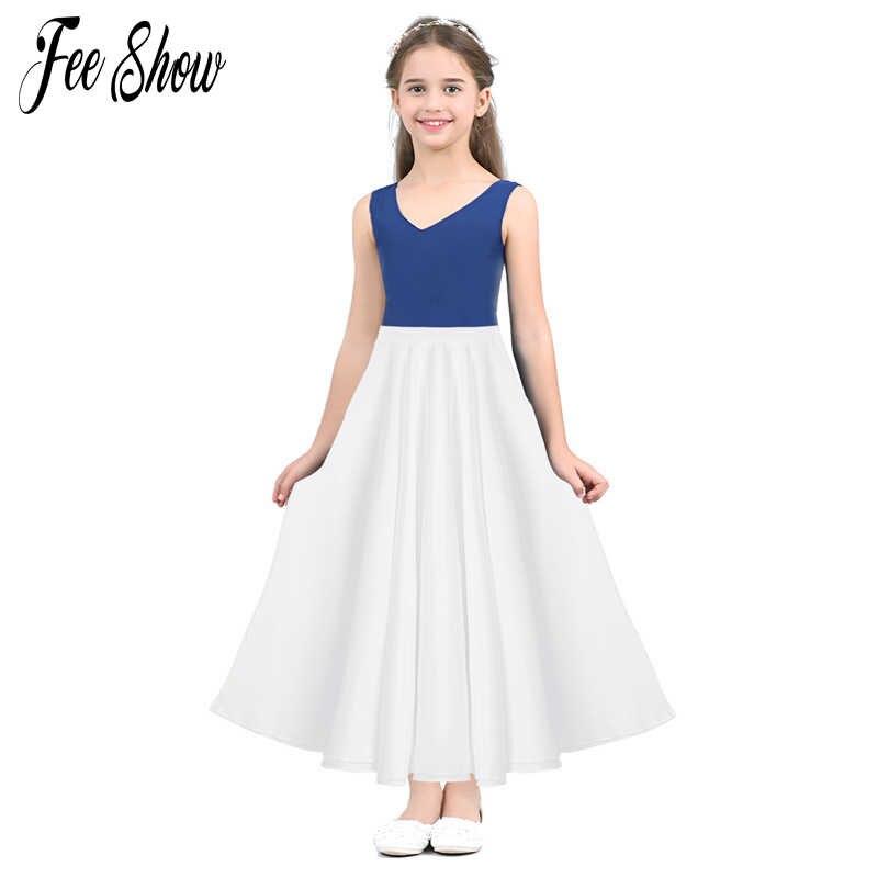 38eeaf30593e0 FEESHOW Summer Teenager Girls High Waist Long Maxi Full Circle Skirt for  Performance Celebration of Spirit Praise Dance Wear