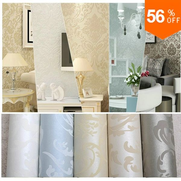 Luxury European Flock Non-woven Metallic Floral Damask Wallpaper Design Modern Vintage wall paper Textured Wallpaper Roll 10M
